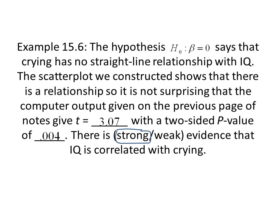 Example 15.6: The hypothesis says that crying has no straight-line relationship with IQ. The scatterplot we constructed shows that there is a relation