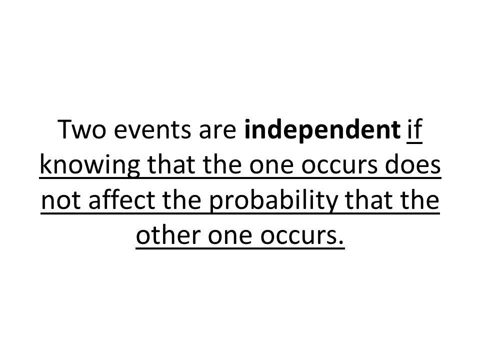 Two events are independent if knowing that the one occurs does not affect the probability that the other one occurs.