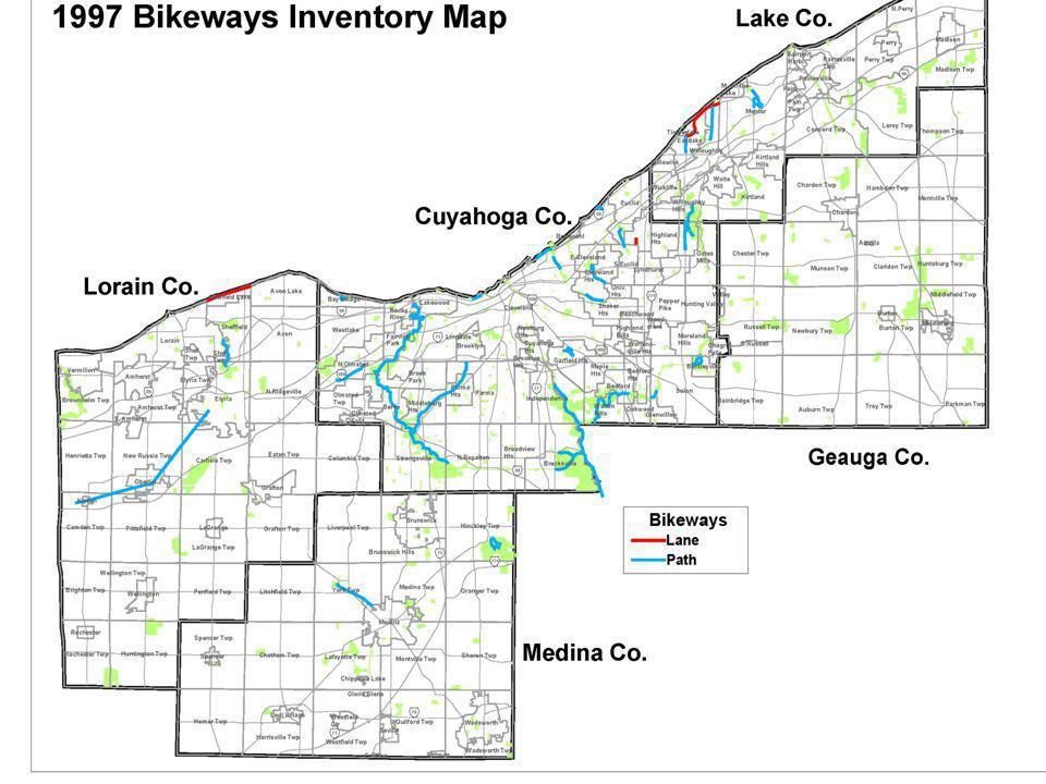 Bikeway Inventory in 1997: 103 miles of paths 6 miles of lanes Total of 109 miles of bikeways