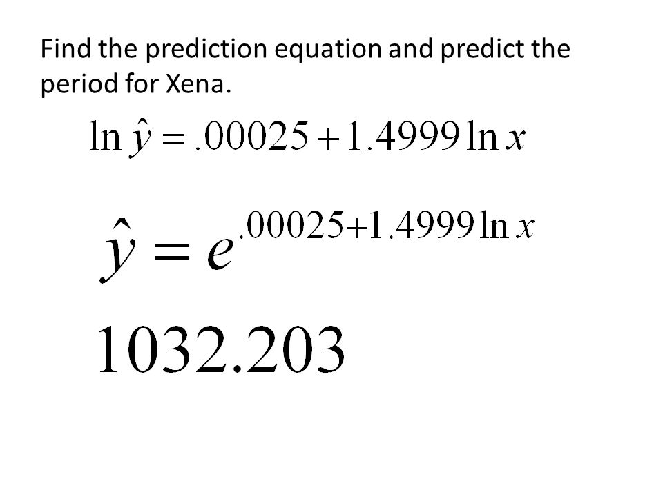 Find the prediction equation and predict the period for Xena.