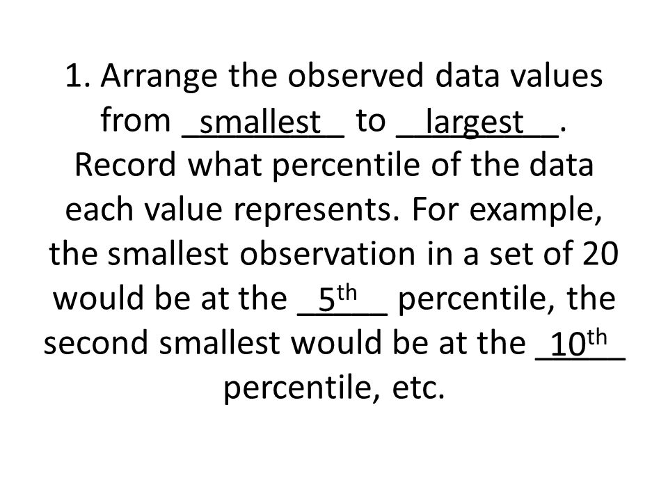 1. Arrange the observed data values from _________ to _________.