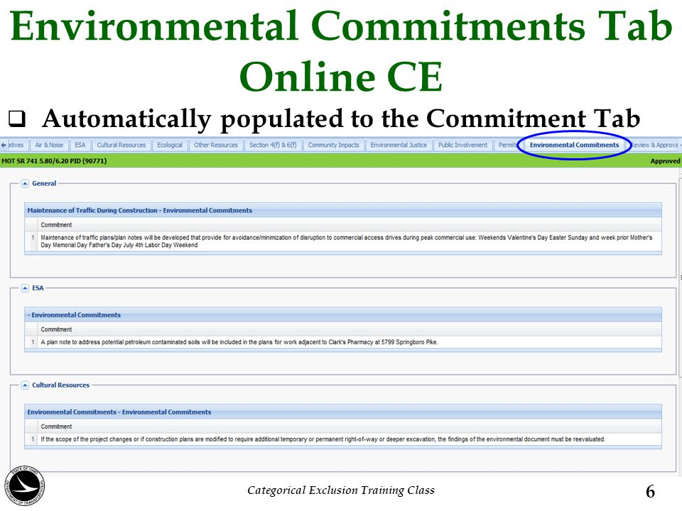 Environmental Commitments Tab Online CE  Automatically populated to the Commitment Tab 6 Categorical Exclusion Training Class