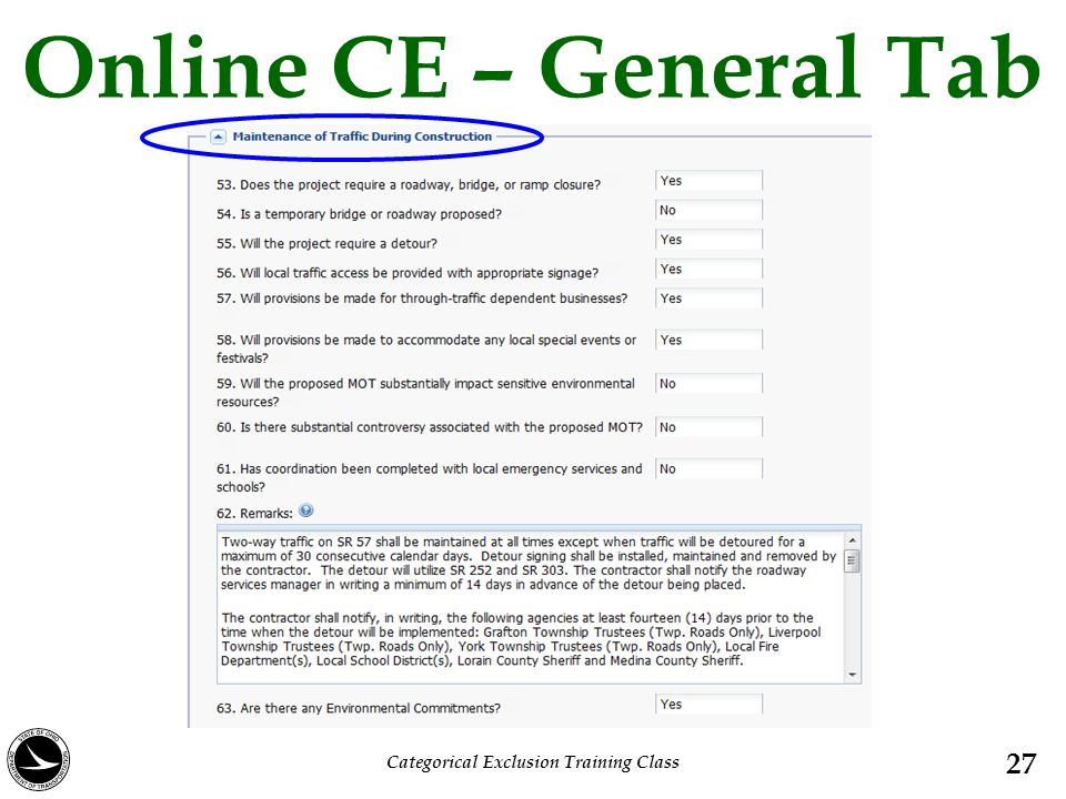 Online CE – General Tab 27 Categorical Exclusion Training Class