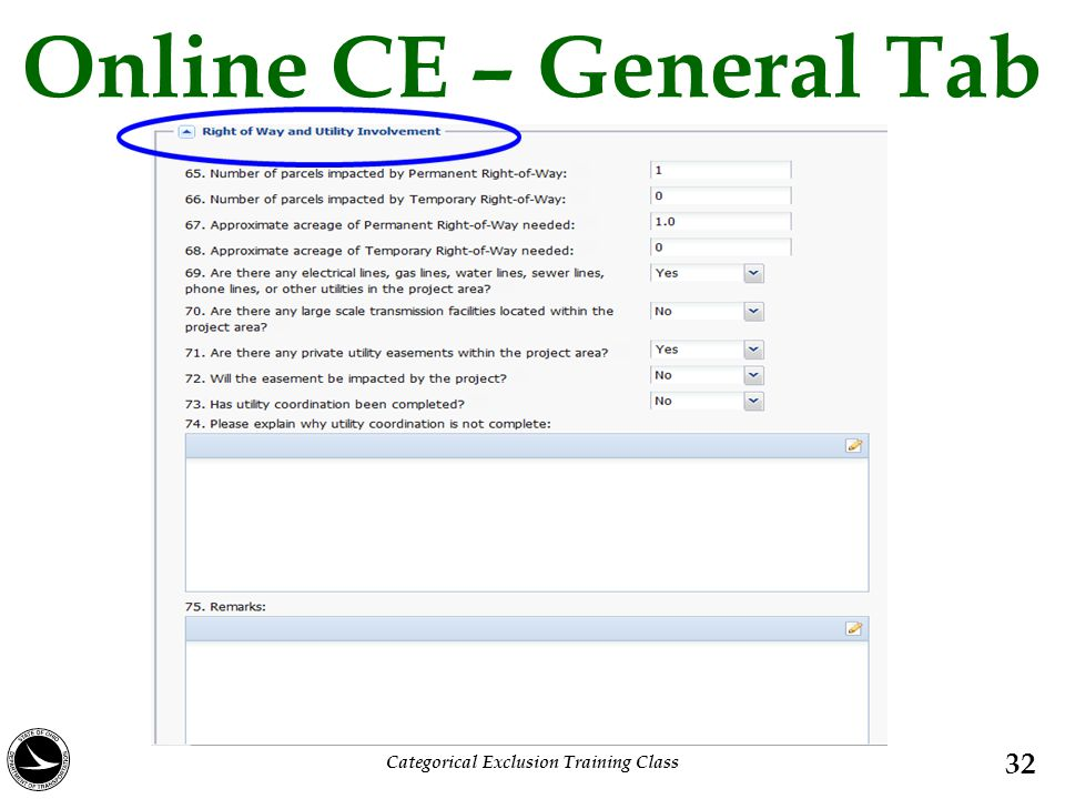 Online CE – General Tab 32 Categorical Exclusion Training Class