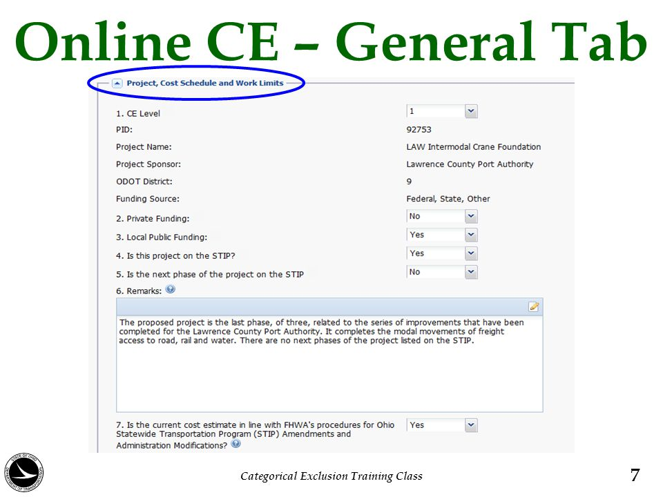 Online CE – General Tab 7 Categorical Exclusion Training Class
