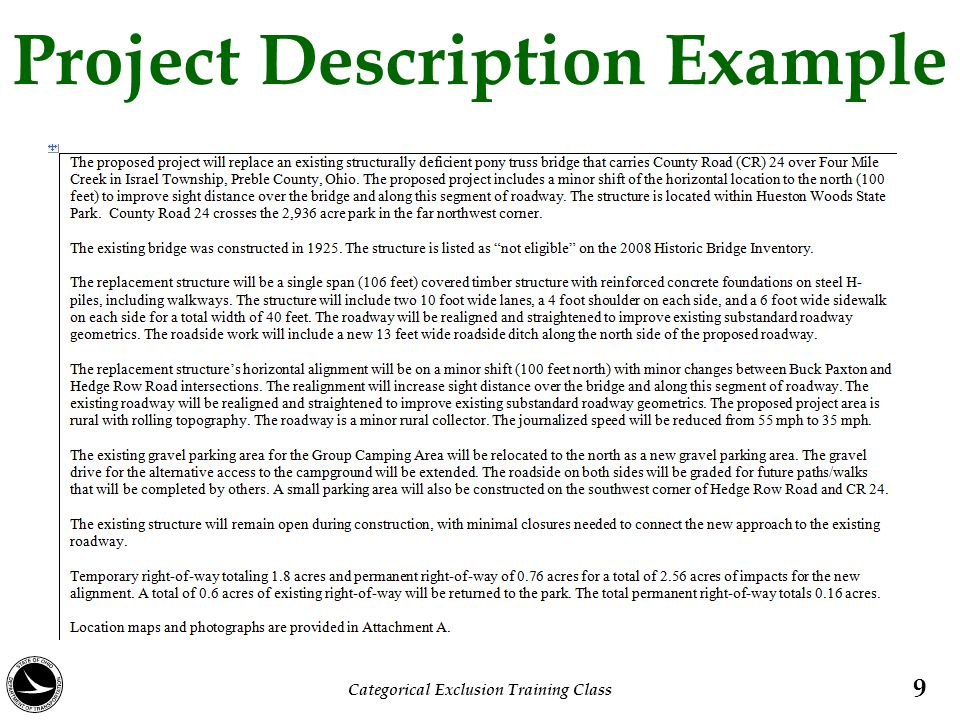 Project Description Example 9 Categorical Exclusion Training Class