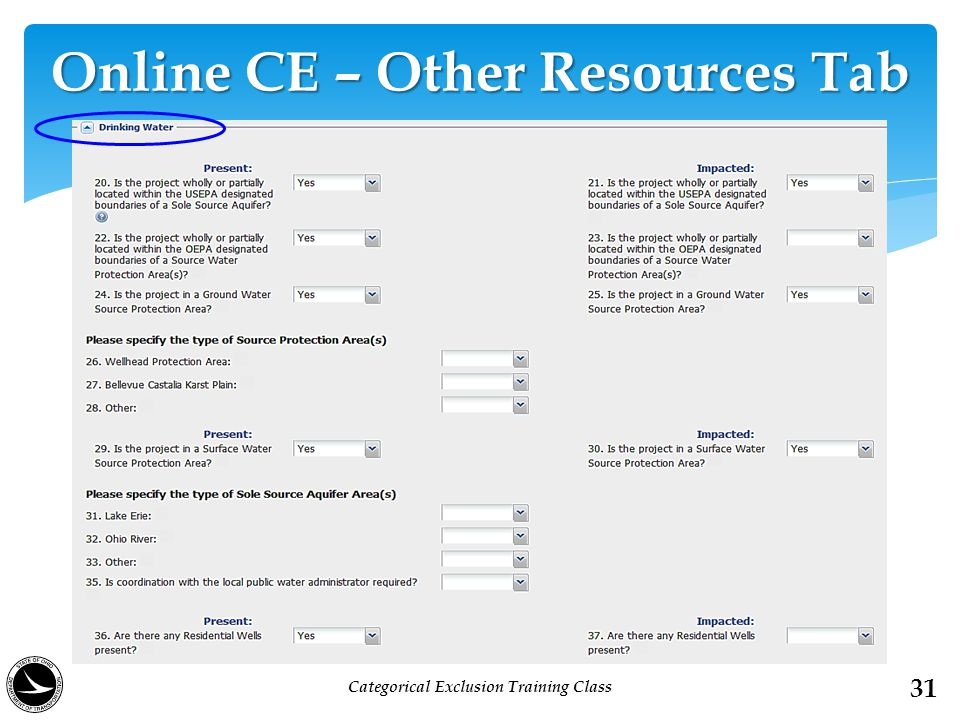 Online CE – Other Resources Tab 31 Categorical Exclusion Training Class