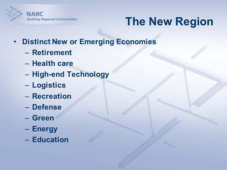 The New Region Distinct New or Emerging Economies –Retirement –Health care –High-end Technology –Logistics –Recreation –Defense –Green –Energy –Education