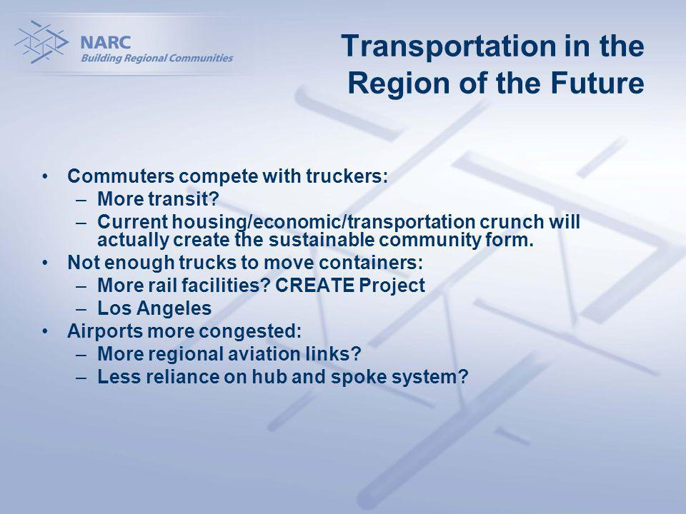 Transportation in the Region of the Future Commuters compete with truckers: –More transit.