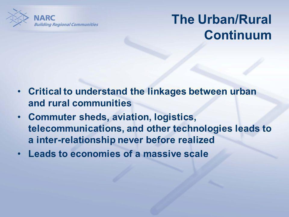 The Urban/Rural Continuum Critical to understand the linkages between urban and rural communities Commuter sheds, aviation, logistics, telecommunications, and other technologies leads to a inter-relationship never before realized Leads to economies of a massive scale