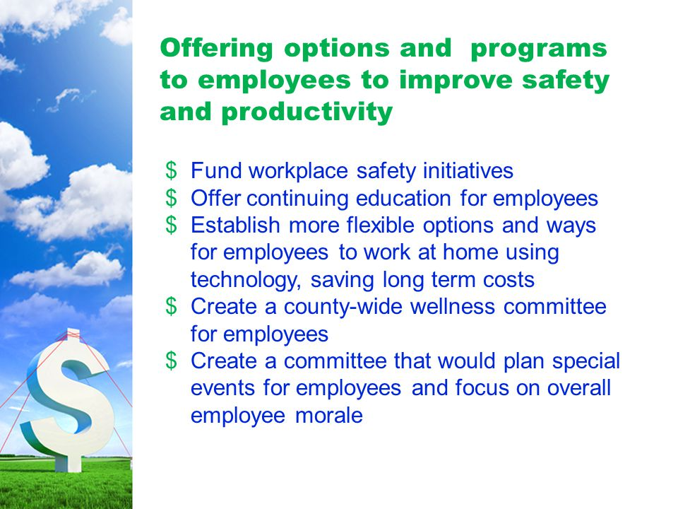 Offering options and programs to employees to improve safety and productivity $Fund workplace safety initiatives $Offer continuing education for employees $Establish more flexible options and ways for employees to work at home using technology, saving long term costs $Create a county-wide wellness committee for employees $Create a committee that would plan special events for employees and focus on overall employee morale