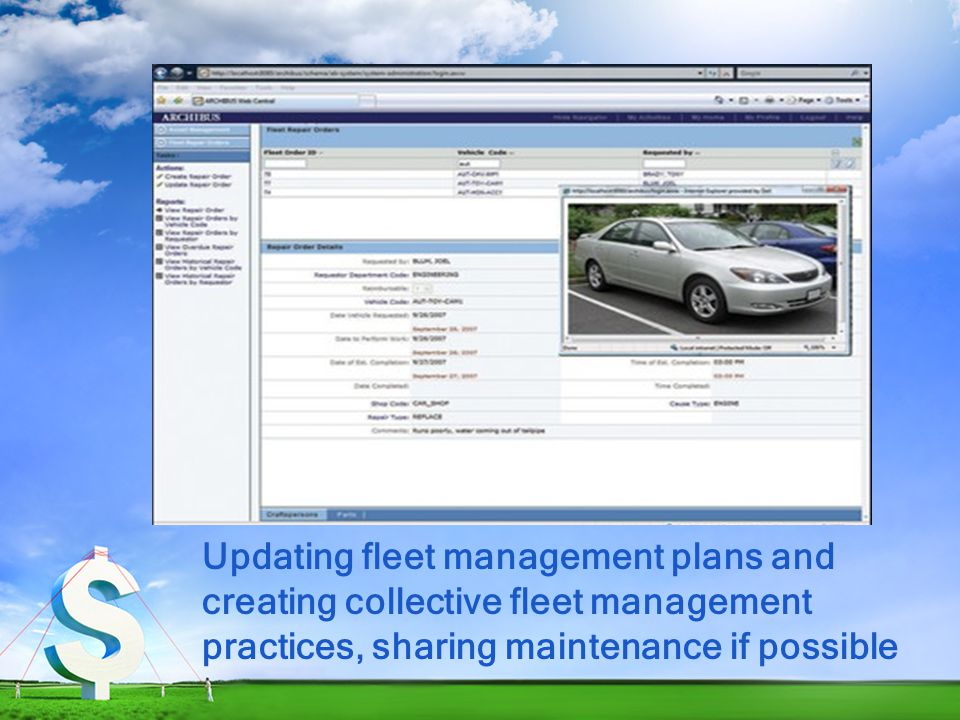 Updating fleet management plans and creating collective fleet management practices, sharing maintenance if possible