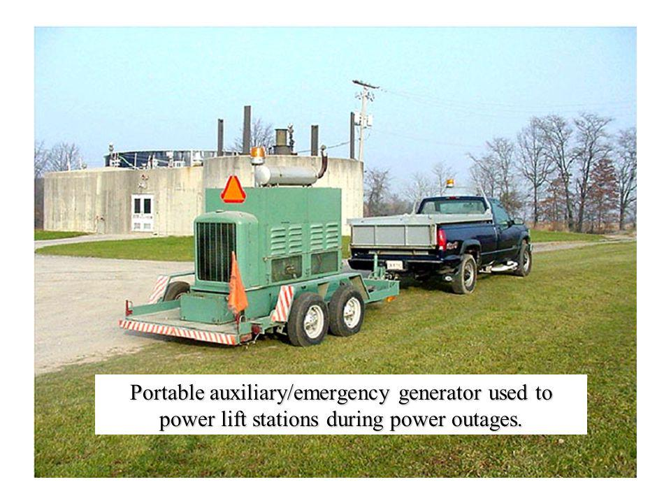 Portable auxiliary/emergency generator used to power lift stations during power outages.