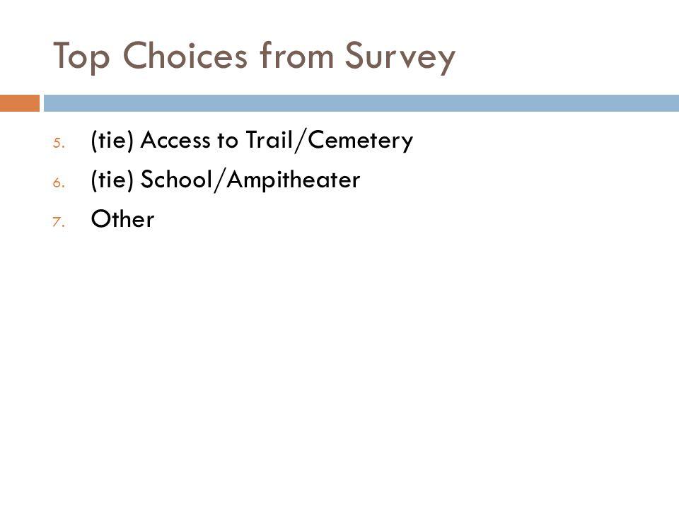 Top Choices from Survey 5. (tie) Access to Trail/Cemetery 6. (tie) School/Ampitheater 7. Other