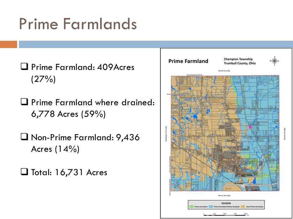 Prime Farmlands  Prime Farmland: 409Acres (27%)  Prime Farmland where drained: 6,778 Acres (59%)  Non-Prime Farmland: 9,436 Acres (14%)  Total: 16
