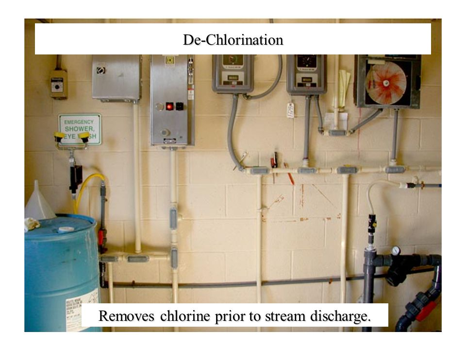 De-Chlorination Removes chlorine prior to stream discharge.
