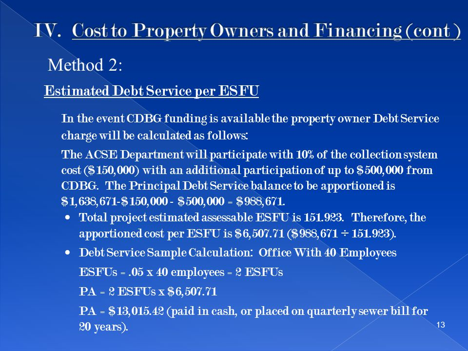 Estimated Debt Service per ESFU In the event CDBG funding is available the property owner Debt Service charge will be calculated as follows: The ACSE