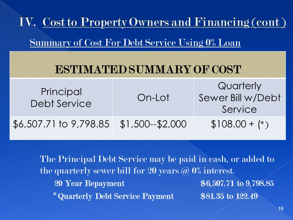 ESTIMATED SUMMARY OF COST Principal Debt Service On-Lot Quarterly Sewer Bill w/Debt Service $6,507.71 to 9,798.85$1,500--$2,000$108.00 + ( *) 16 The Principal Debt Service may be paid in cash, or added to the quarterly sewer bill for 20 years @ 0% interest.