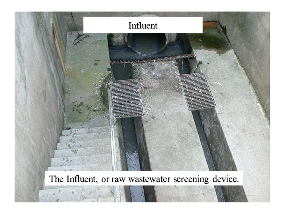 Influent The Influent, or raw wastewater screening device.