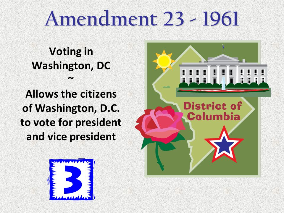 Voting in Washington, DC ~ Allows the citizens of Washington, D.C. to vote for president and vice president Amendment 23 - 1961