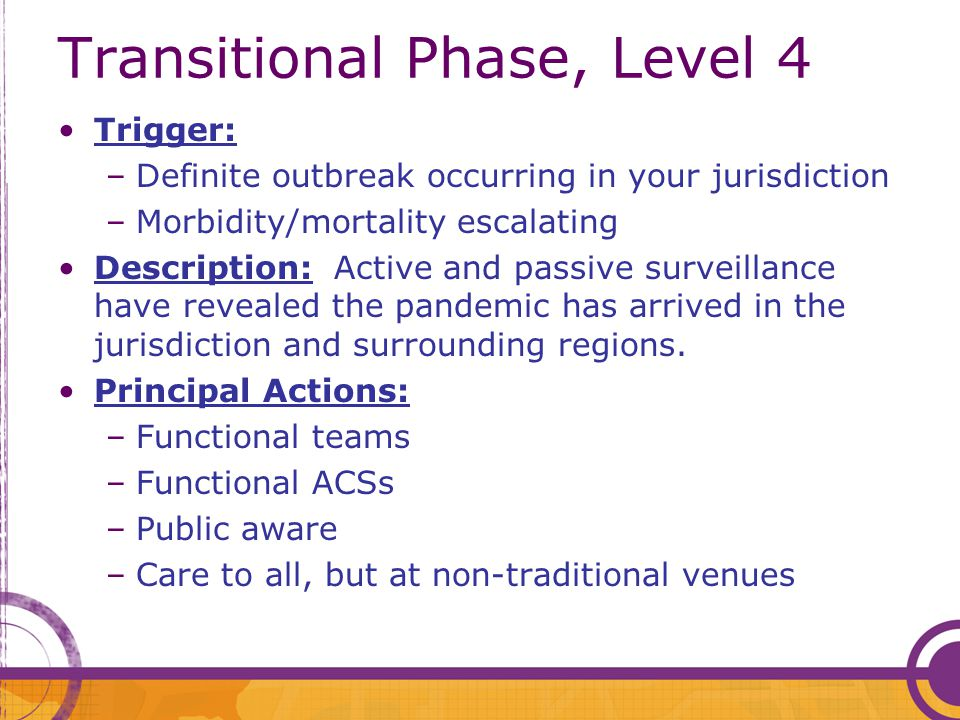 Transitional Phase, Level 4 Trigger: –Definite outbreak occurring in your jurisdiction –Morbidity/mortality escalating Description: Active and passive