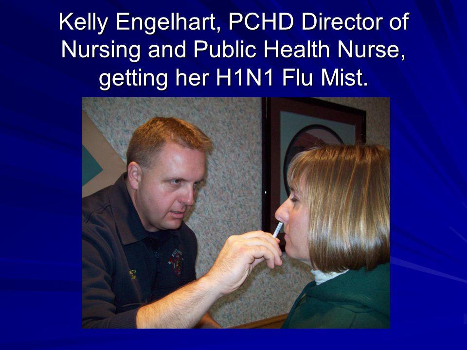 Kelly Engelhart, PCHD Director of Nursing and Public Health Nurse, getting her H1N1 Flu Mist.