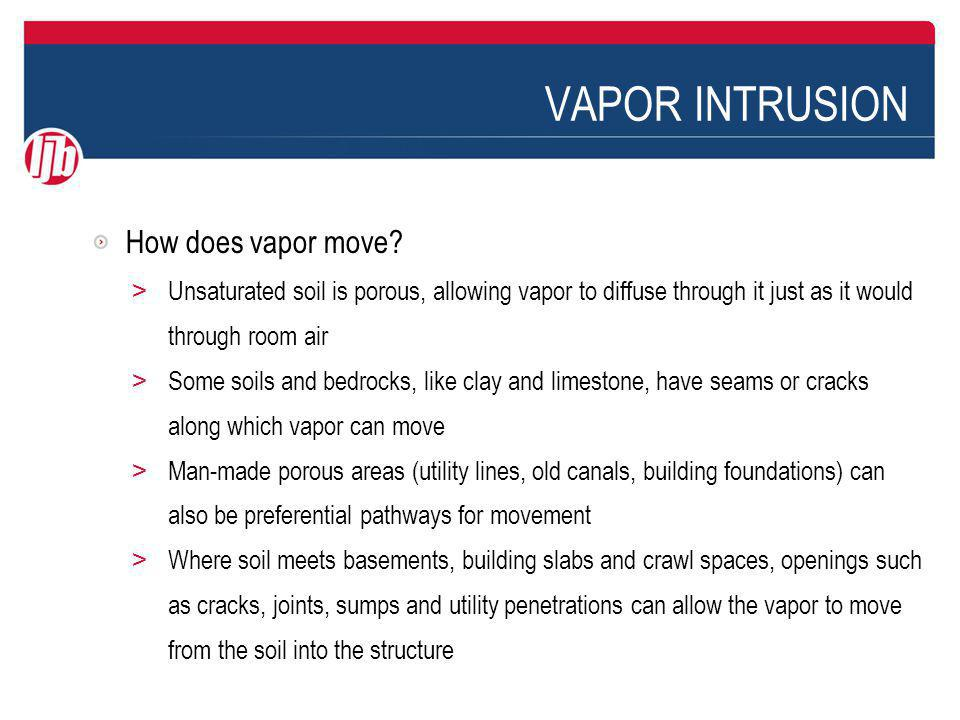 VAPOR INTRUSION Vapor intrusion is aided by the stack effect, which can cause an upward air flow as warm air escaping through openings in the upper reaches of the building pulls in cooler make-up air in the lower reaches of the building.