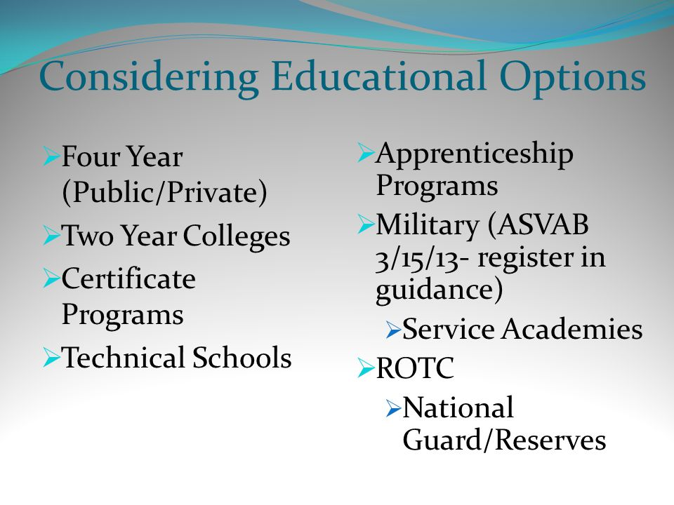 Considering Educational Options  Four Year (Public/Private)  Two Year Colleges  Certificate Programs  Technical Schools  Apprenticeship Programs  Military (ASVAB 3/15/13- register in guidance)  Service Academies  ROTC  National Guard/Reserves
