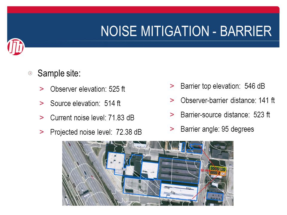 NOISE MITIGATION - BARRIER Sample site: > Observer elevation: 525 ft > Source elevation: 514 ft > Current noise level: 71.83 dB > Projected noise level: 72.38 dB > Barrier top elevation: 546 dB > Observer-barrier distance: 141 ft > Barrier-source distance: 523 ft > Barrier angle: 95 degrees