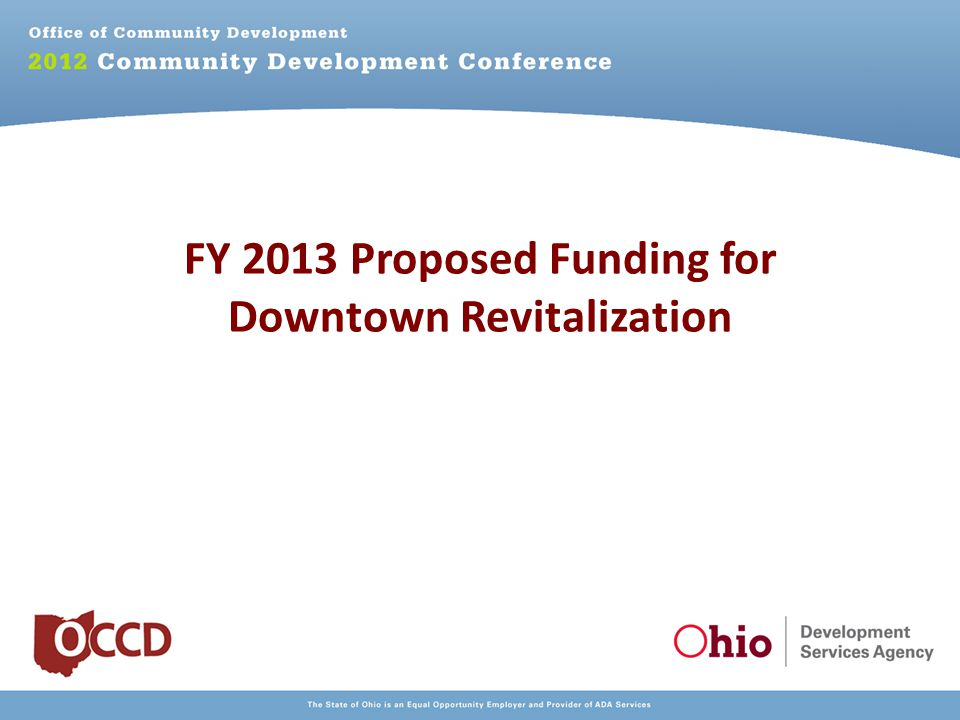 FY 2013 Proposed Funding for Downtown Revitalization
