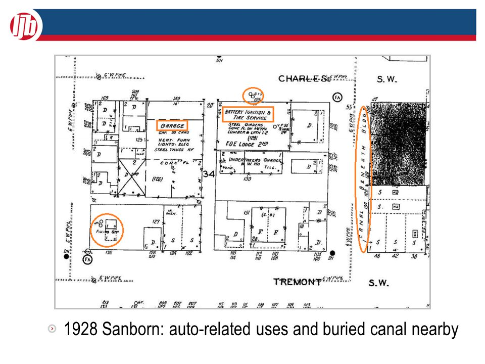 1928 Sanborn: auto-related uses and buried canal nearby