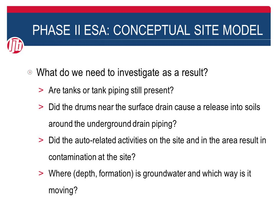 PHASE II ESA: CONCEPTUAL SITE MODEL What do we need to investigate as a result.