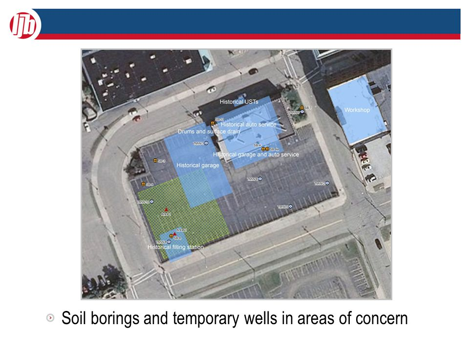 Soil borings and temporary wells in areas of concern