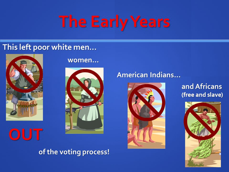 The Early Years This left poor white men… OUT of the voting process! and Africans (free and slave) women… American Indians…