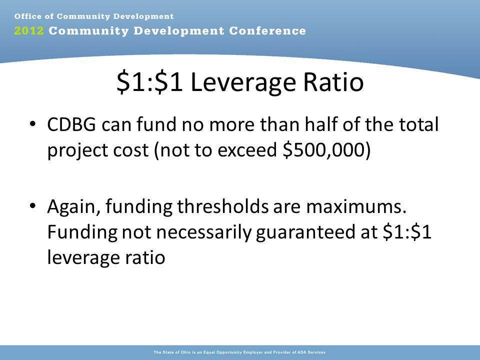 $1:$1 Leverage Ratio CDBG can fund no more than half of the total project cost (not to exceed $500,000) Again, funding thresholds are maximums.