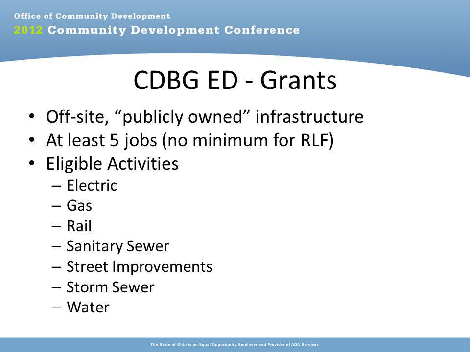 CDBG ED - Grants Off-site, publicly owned infrastructure At least 5 jobs (no minimum for RLF) Eligible Activities – Electric – Gas – Rail – Sanitary Sewer – Street Improvements – Storm Sewer – Water