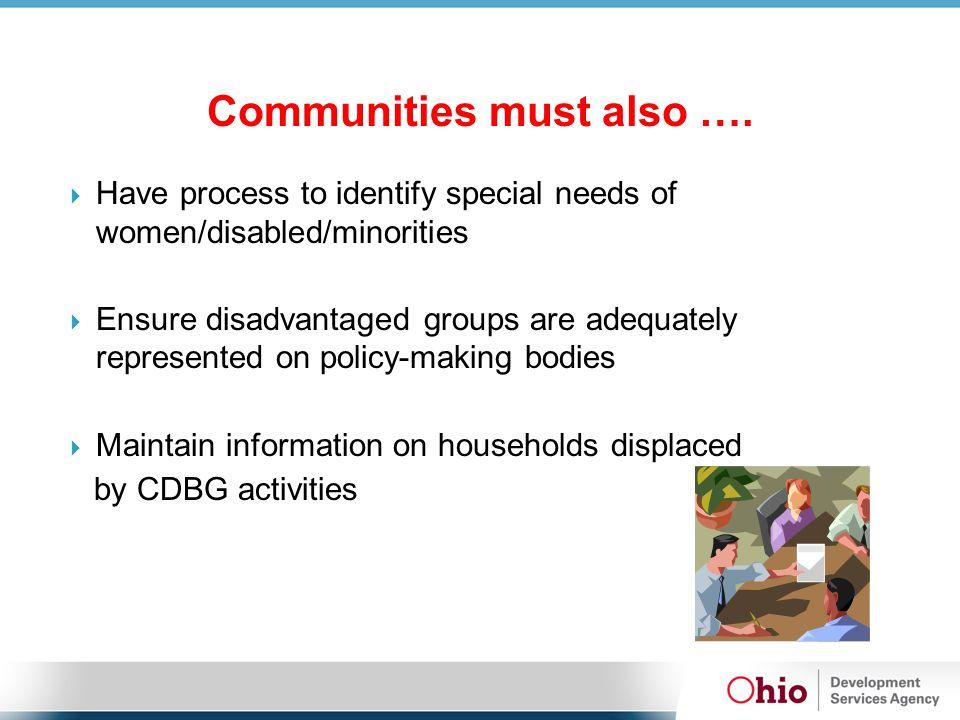 Communities must also ….