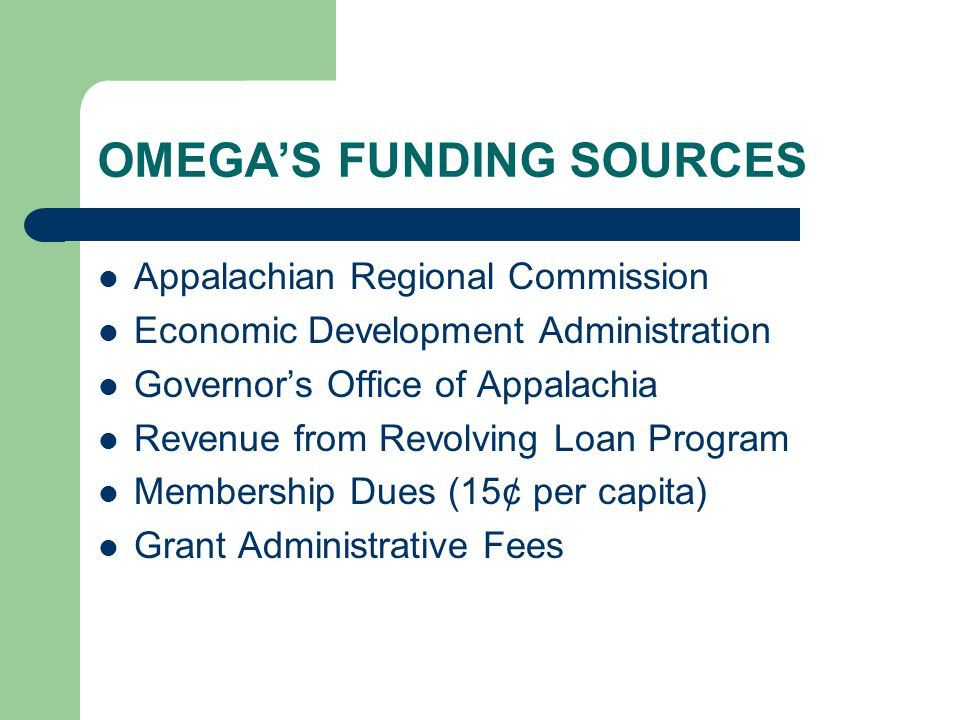 OMEGA'S ROLE Facilitate economic and community development through networking, education, planning, research, and allocation of resources Advocate and collaborate with federal and state elected officials and agencies (regional voice)