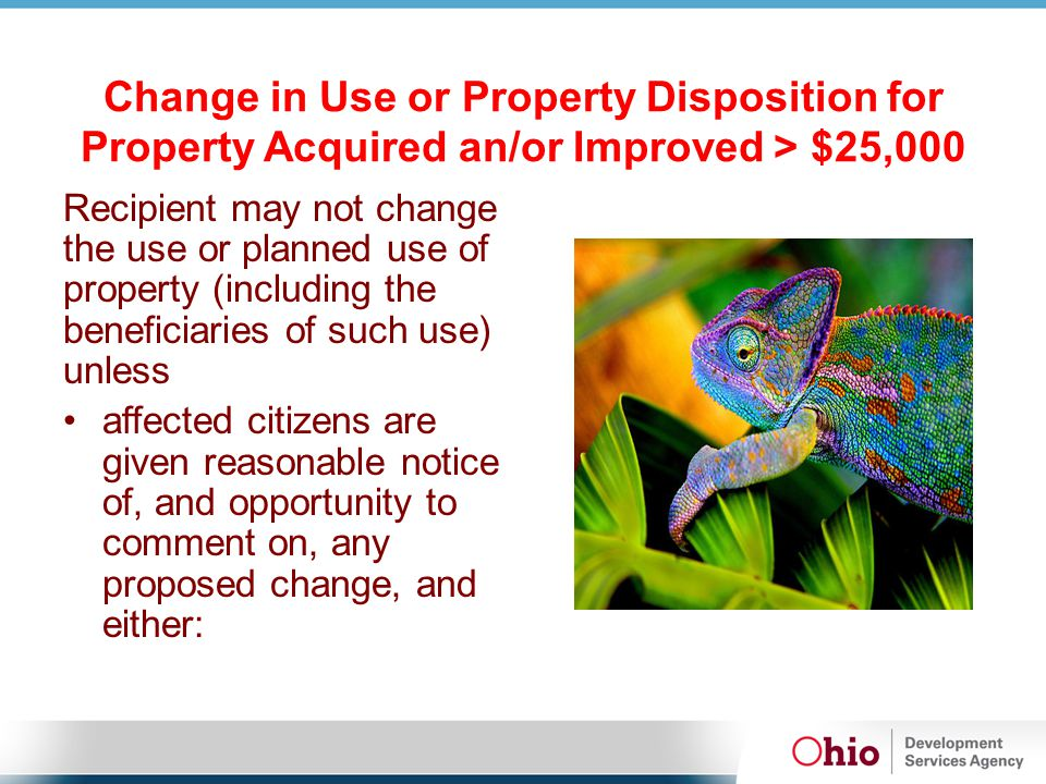 Change in Use or Property Disposition for Property Acquired an/or Improved > $25,000 Recipient may not change the use or planned use of property (including the beneficiaries of such use) unless affected citizens are given reasonable notice of, and opportunity to comment on, any proposed change, and either:
