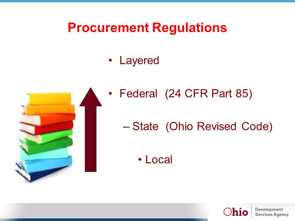 Procurement Regulations Layered Federal (24 CFR Part 85) – State (Ohio Revised Code) Local