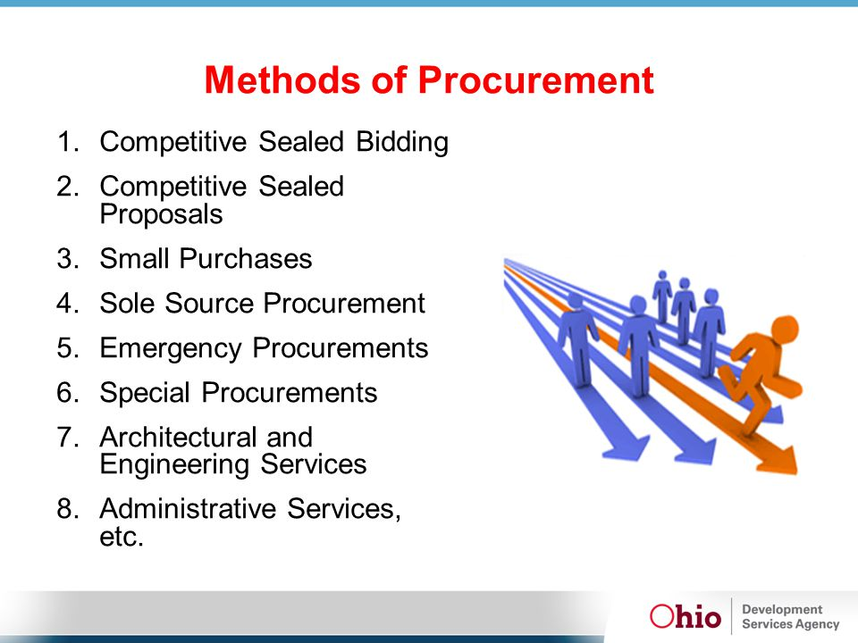 Methods of Procurement 1.Competitive Sealed Bidding 2.Competitive Sealed Proposals 3.Small Purchases 4.Sole Source Procurement 5.Emergency Procurement
