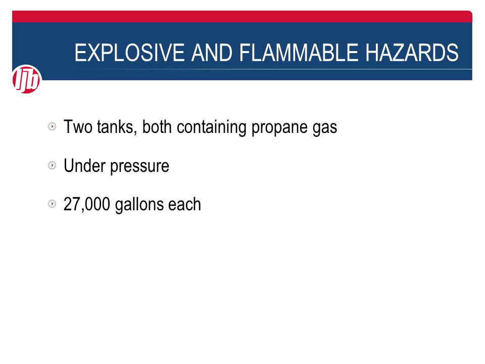 Two tanks, both containing propane gas Under pressure 27,000 gallons each