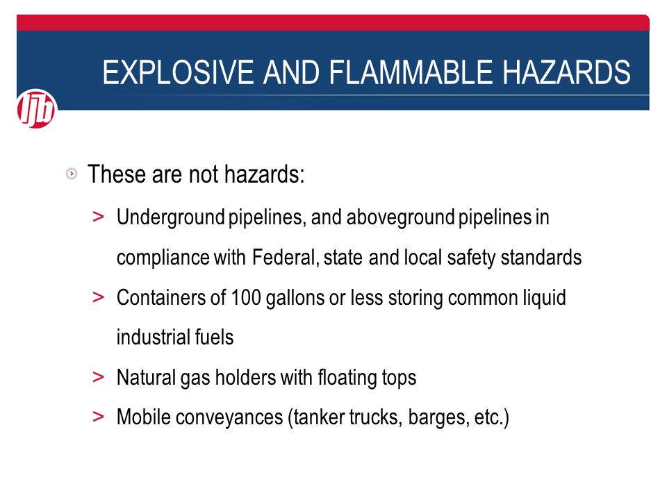 EXPLOSIVE AND FLAMMABLE HAZARDS Largest diked area, measured at top of dike, is approximately 260 ft x 340 ft = 88,400 ft 2 Closest diked area is irregular, but approximately 200 ft x 290 ft = 58,000 ft 2 Note: tanks in this example held between 15,000 and 80,000 bbls, or 630,000 to 3.34 million gallons