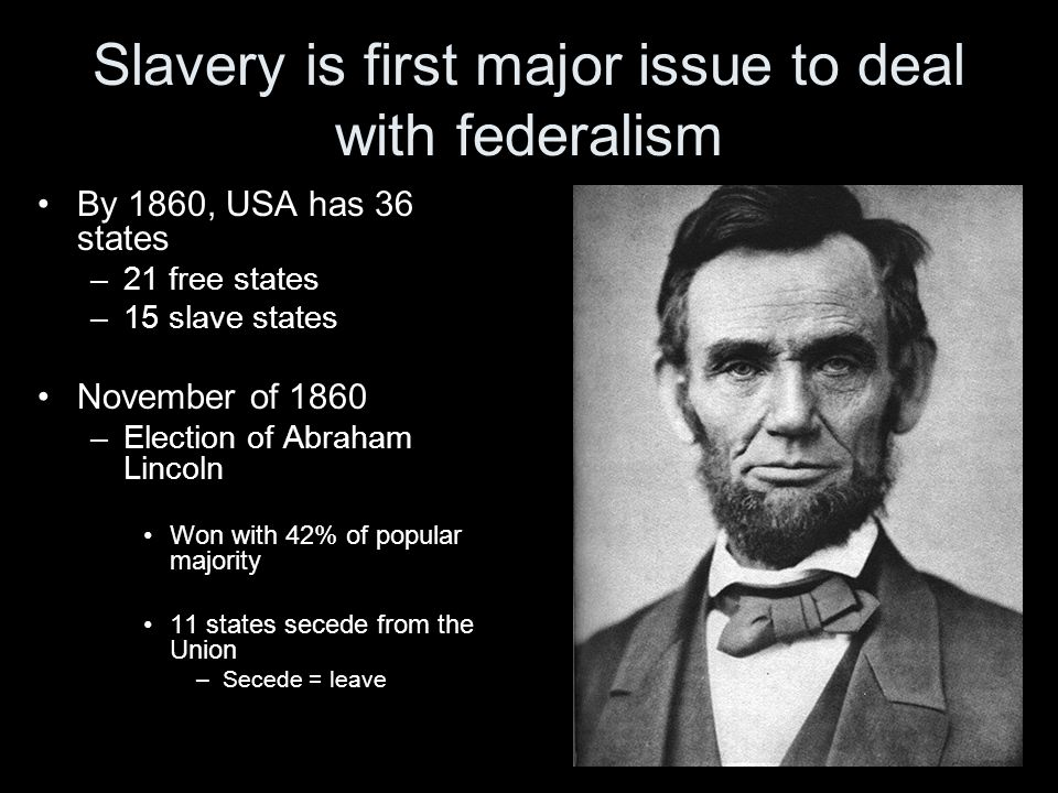 Slavery is first major issue to deal with federalism By 1860, USA has 36 states –21 free states –15 slave states November of 1860 –Election of Abraham