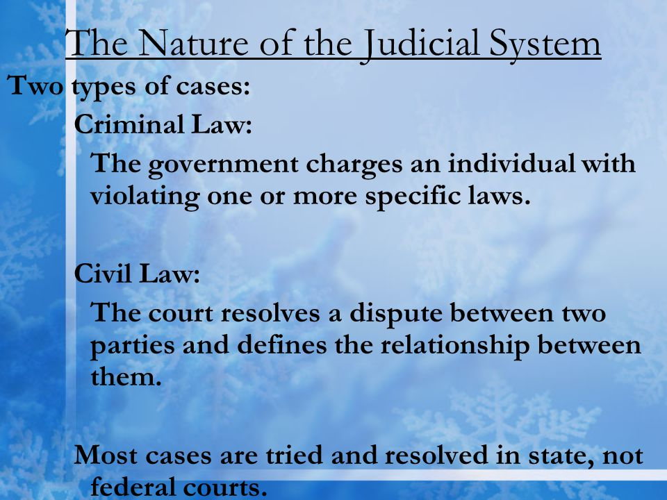 The Nature of the Judicial System Two types of cases: Criminal Law: The government charges an individual with violating one or more specific laws. Civ