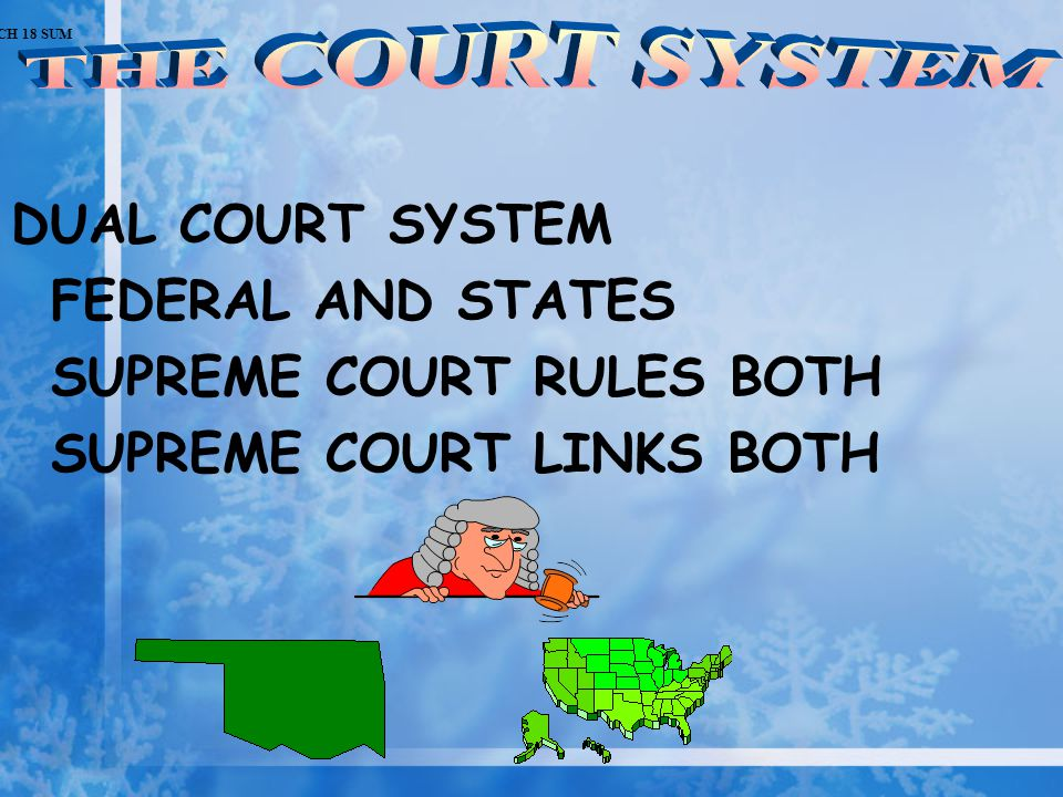 DUAL COURT SYSTEM FEDERAL AND STATES SUPREME COURT RULES BOTH SUPREME COURT LINKS BOTH CH 18 SUM