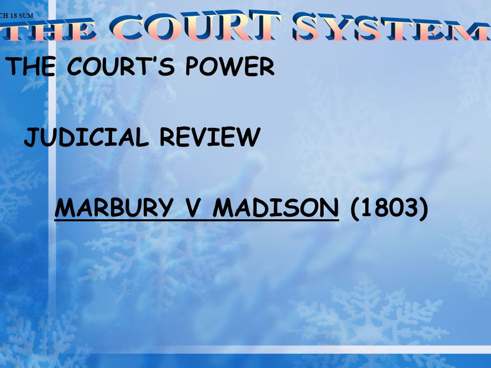 THE COURT'S POWER JUDICIAL REVIEW MARBURY V MADISON (1803) CH 18 SUM