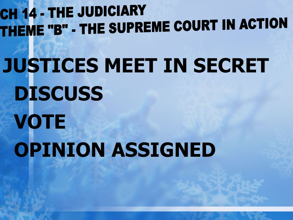 JUSTICES MEET IN SECRET DISCUSS VOTE OPINION ASSIGNED