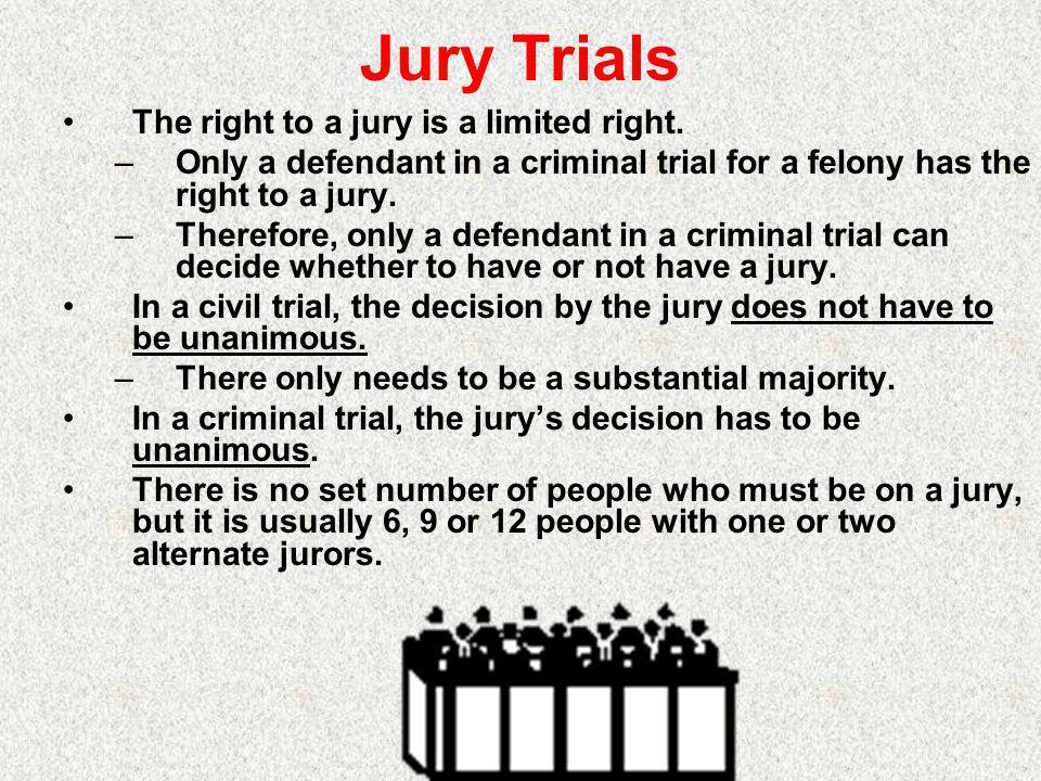 Jury Trials The right to a jury is a limited right.