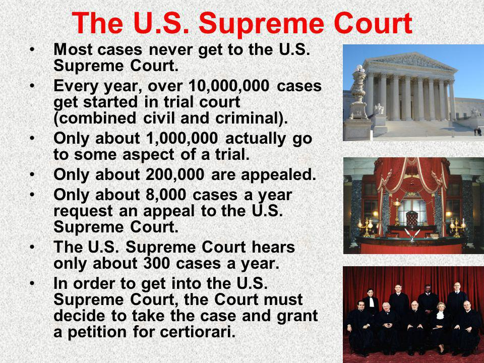 The U.S.Supreme Court Most cases never get to the U.S.